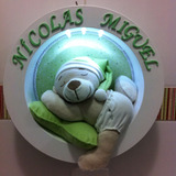 Enfeite Porta Maternidade Nicho Urso Dorminhoco C/ Led