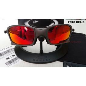 Oculos Oakley Xsquared Xmetal Cinza Lente Fire Red Polarized