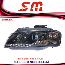 Farol Esportivo Led Drl R8 Audi A3 2007 08 09 10 11 12 Black