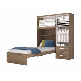 Cama 1 Plaza Placard Juego Dormitorio Juvenil Cajonera
