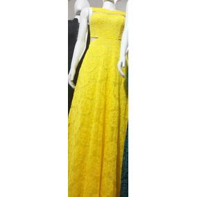 Vestido Festa Madrinha Casamento Com Renda Amarelo