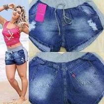 Short Jeans Com Moleton Na Lateral