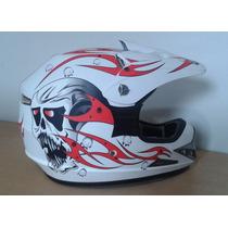 Capacete Mrc Helmet Branco Com Viseira Tamanho: S 54-56 Bran