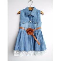 Vestido Jeans Infantil Com Barra De Renda