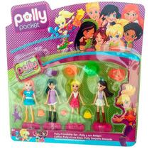 Boneca Polly Pocket Kit 4 Bonecas + Acessórios Brinquedo