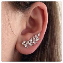 Brinco Em Prata Ear Cuff Com Zircônias Prata 925 Rodhium