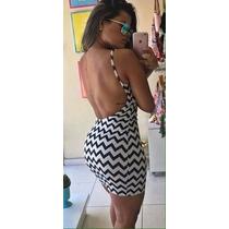 Vestido Costa Nua Alça Fina Preto E Branco Zig Zag Instagram