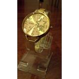 Reloj Pulsera Mujer Estrellas Dorado Elegante Dama Barato