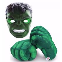 Luva Hulk Espuma Mãos Grande Gigante + Máscara 1º Qualidade!