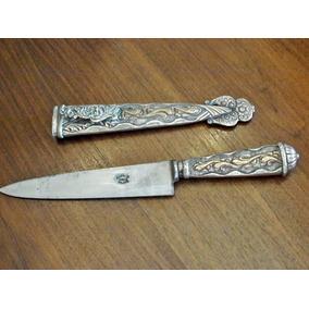 Antiguo Facón N°1 Cuchillo Alpaca Y Oro Alimar Tandil 33.5cm