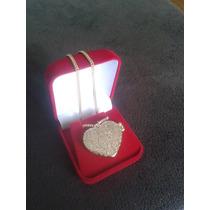 Colar Pingente Coração Relicário Banho Ouro 18k