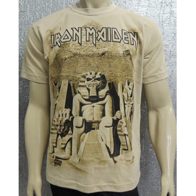 Camiseta Iron Maiden - Powerslave - Especial Malha Bege