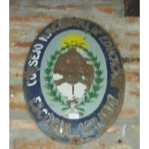 Escudo De Chapa Enlozado De Escuela Construida En 1905 Al 55