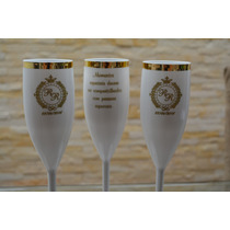 50 Taça Champanhe Champagne Borda Dourada Personalizadas