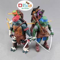 Kit Tartarugas Ninjas 12cm Com Acessórios- Ricos Em Detalhes