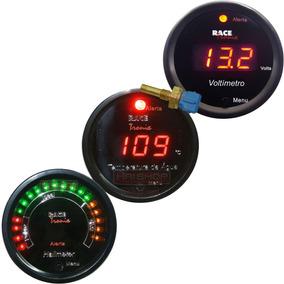Kit Digital Hallmeter Led Voltímetro Temperatura Água Carro