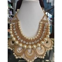 Espectacular Collar Hindu Style Dorado Con Perlas Y Cristal
