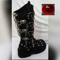 Botas Dark Goticas Cadenas, Rock, Metal Luna Alterna.