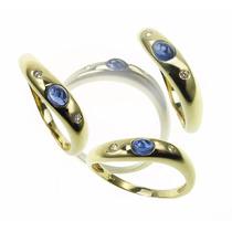 Anillo Zafiro Y Diamantes, Modelo Wave En Oro 18 Kts.