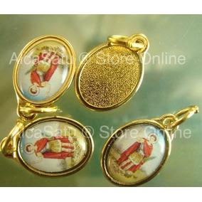 10 Medallas Dijes San Expedito Esmaltada 1,9cm Dorada