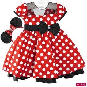 Vestido Infantil Festa Luxo Minnie Vermelho Com Tiara Minie