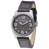 Relógio Technos Masculino Militar 2035mfk/0p Couro Prata