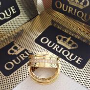 Aliança Modelo Bvlgari Ouro 18k Com Diamantes Maquina 3 D