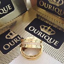 Aliança Modelo Bvlgari Em Ouro 18k Com Diamantes Maquina 3 D