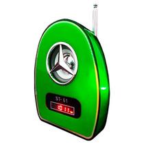 Velikka Bocina Bateria Recargable Usb Fm Led Neon St-61 Verd