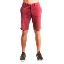 Bermuda Masculina Slim Zoe Jeans - Bolso Faca - Bordô