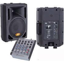 Kit Caixa Ativa 10 Usb 300w + Passiva 10 + Mesa 4 Canais