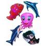 Balão Metalizado Peixes Tubarão Golfinho Baleia Nemo Kit/10