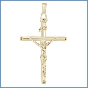 G C- Dije Crucifijo Mod. Christian En Oro Solido 14k Cruz
