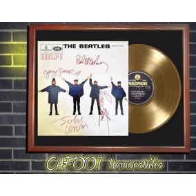 The Beatles Help ! Tapa Lp Firmada Disco Oro Enmarcado