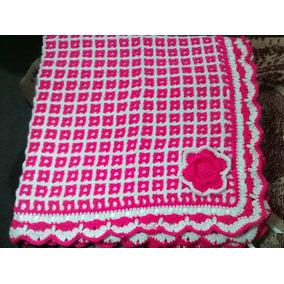 Cobija Para Bebe Tejida A Mano Color Rosa Y Blanco