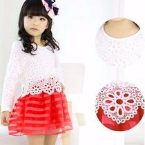 Hermoso Vestido De Nena Rojo Y Blanco Envio Inmediato