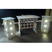 Kit 1 Mesa, 2 Cubos Iluminação Provençal Branco Mdf + Brinde