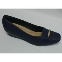Sapato Fechado Piccadilly Salto Baixo Anabela Azul Escuro