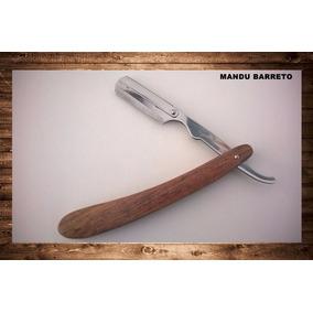 Navalha De Barbear Inox Cromado Cabo De Madeira Profissional