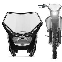 Farol Com Carenagem Moto Pro Tork Universal Preto Off Road