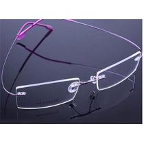 Armação Óculos Novo Titânio Três Peças Discreta Sem Aro Bf