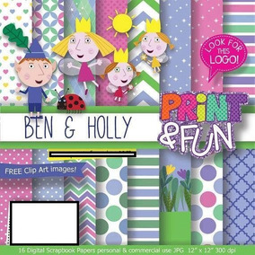 30 Itens Kit Digital Editavel Scrapbook Ben E Holly Arte