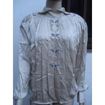 Camisa Em Seda Pura Com Bordados Tam G