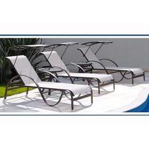 Espreguiçadeira Com Tapa Sol Para Piscina Jardim Alumínio