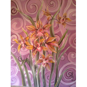 Cuadro Flores Sobre Bastidor Abstracto