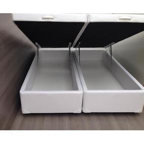 Cama Box Baú Queen 1,58x1,98 Courino Branco