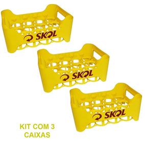 Kit Com 3 Engradados Cerveja Skol Para 18 Garrafas 300 Ml