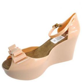Sandalias Plastic Shoes Plataforma Moño Unicolor-beige Mármo