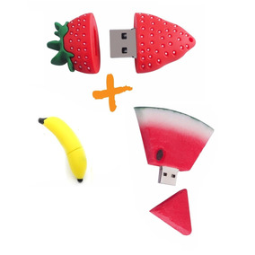 3 Pen Drives De 8 Gb Cada Morango Melancia Banana Memoria
