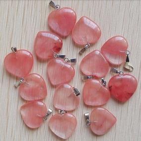 Pingente Coração Quartzo Rosa